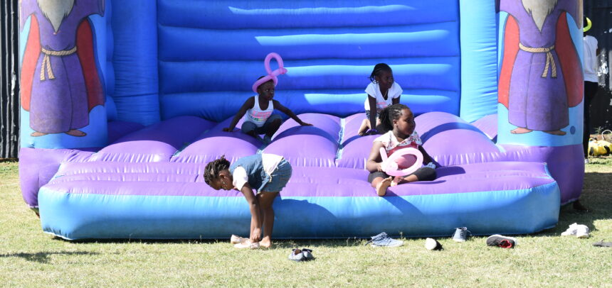 Image showing children enjoying jumps at a bouncing castle at Mombasa Sports club Children playground.